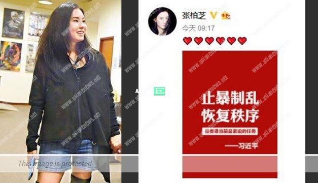Cecilia Cheung showed her support for restoring peace in Hong Kong