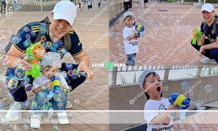 Myolie Wu's husband, Philip Lee played bubble shooter gun with his son