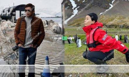 Cute Fala Chen acted as a penguin in Antarctic