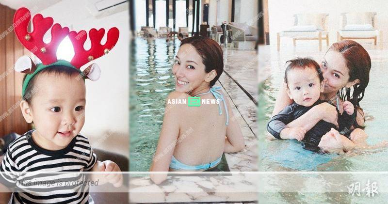 Grace Chan showed her beautiful back and played water with her son
