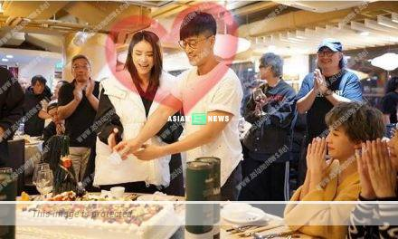Raymond Lam turned 40 years old; Carina Zhang and he cut the cake together