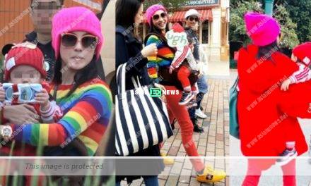 Cecilia Cheung was dressed in red outfit and took her kids to Disneyland
