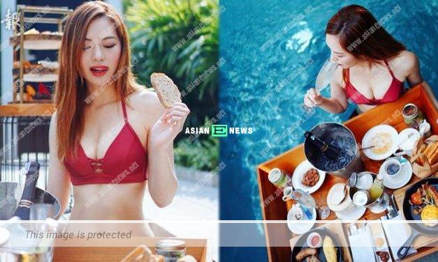 Crystal Fung wore a fiery red bikini revealing her cleavage