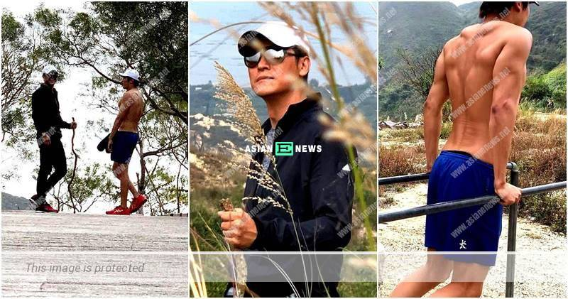 Joe Ma went for hiking with his family; His son showed his muscles