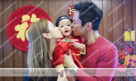 It was full of warmth when Kevin Cheng and Grace Chan kissed their son together