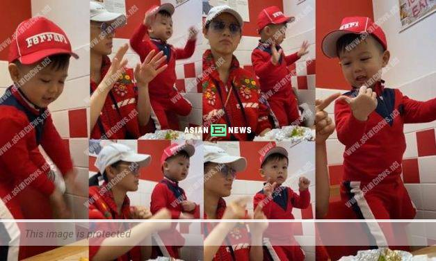 Myolie Wu's son showed his dancing skills at a fast food restaurant