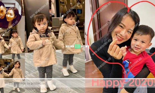 Welcome year 2020: Myolie Wu and Lynn Hung showed photos of their children
