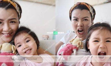 Aimee Chan and her daughter made funny faces after staying at home for a month