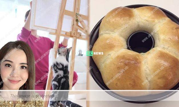 Charlene Choi baked bread and played with her cat during the quarantine period