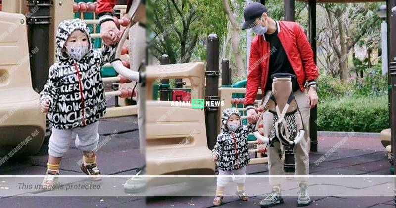 Grace Chan and Kevin Cheng took their son to the park