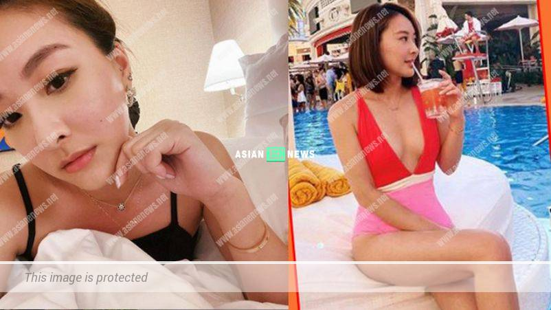 Jeannie Chan wore a sexy swimsuit revealing her good body figure
