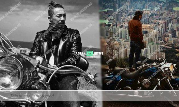 "Louis Cheung tried to look ""chok"" while sitting on the motorcycle"
