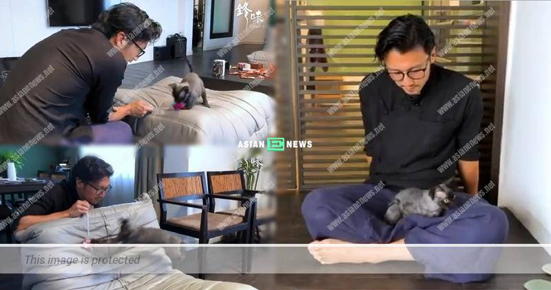 Nicholas Tse played with his cat and revealed his luxurious mansion accidentally