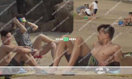 TVB actor Raymond Wong took his family to the beach