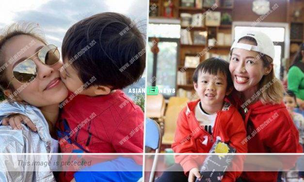 Risk of infection? Sharon Chan is reminded to avoid kissing her son