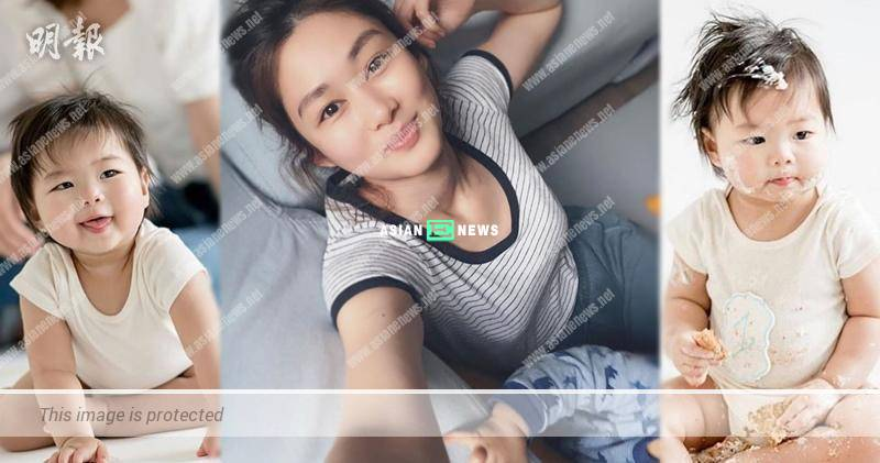 Eliza Sam shows her natural beauty; Her son tries to take photo with her
