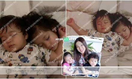Siblings Day! Linda Chung's children slept soundly; Her son looked manly