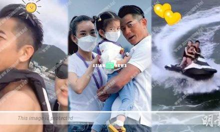 Aaron Kwok draws a heart on the water for his wife Moka Fang