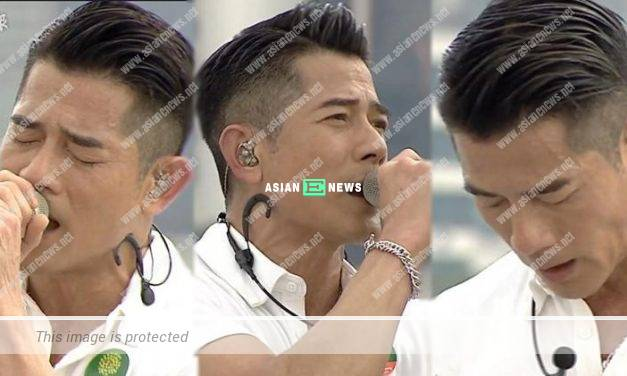 Professional Aaron Kwok continues his singing performance in the humid weather