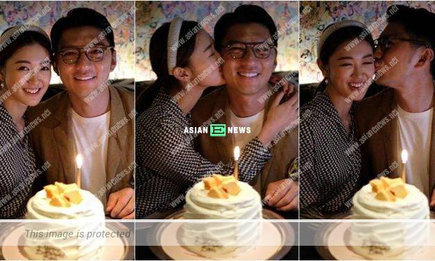 Benjamin Yuen receives a sweet kiss from Bowie Cheung on his birthday