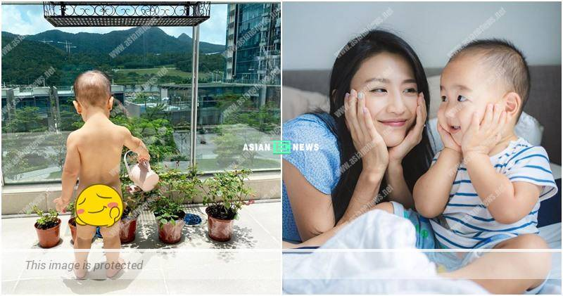 Coffee Lam's son water the plants without wearing any clothes