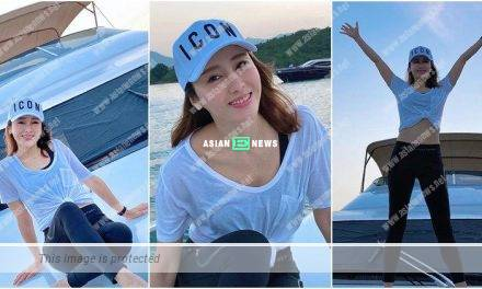 Gigi Lai enjoys the relaxation at the sea