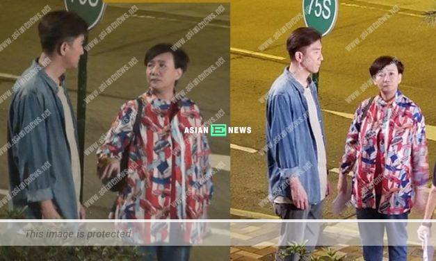 Kenneth Ma and Kiki Sheung keep a distance from each other due to the restriction for public gathering