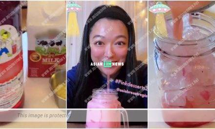 Lee San San makes pink beverage and completes the challenge successfully