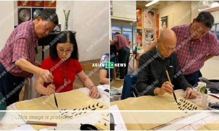 Liza Wang and Law Kar Ying go for calligraphy lessons