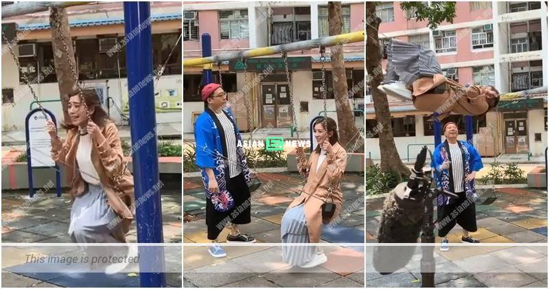 Stephen Cheng makes fun of Mandy Wong when sitting on a swing