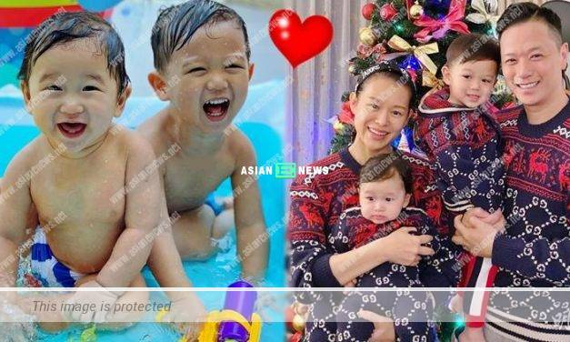 Myolie Wu's sons smile and play water happily
