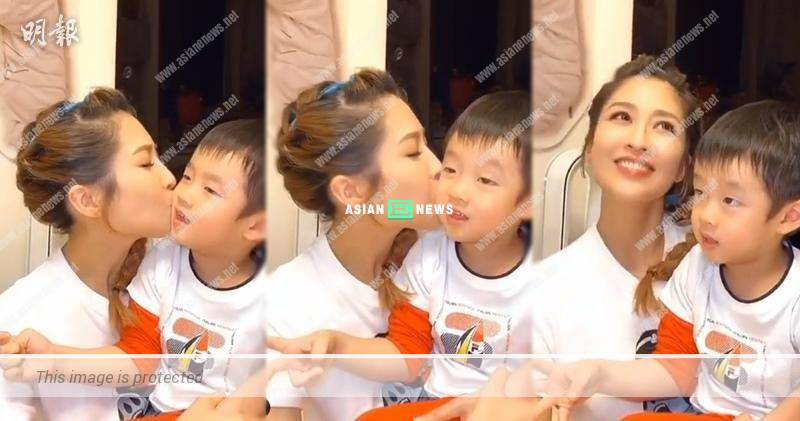 Sharon Chan kisses her son's face 4 times