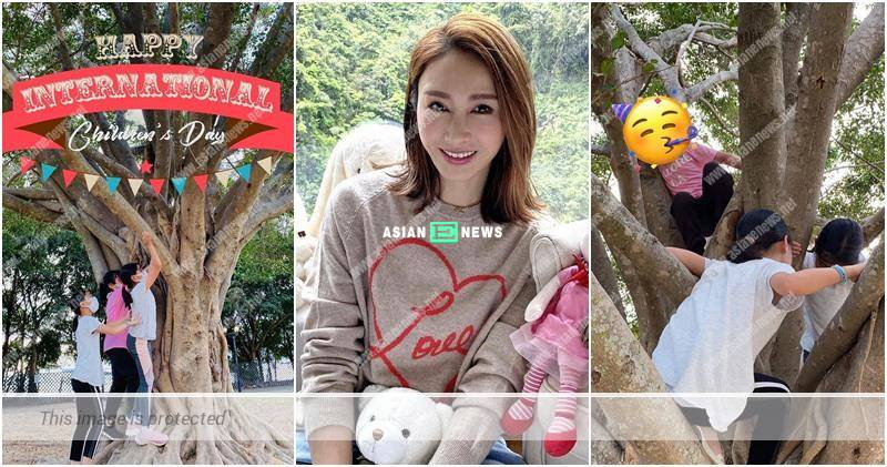Gigi Lai takes her daughters to climb up the tree