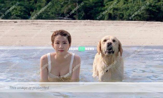 Sisley Choi is at the beach and ignores typhoon warning
