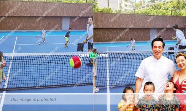Moses Chan transforms into a coach? He teaches his children to play tennis
