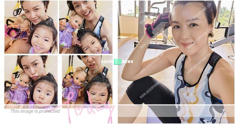 Aimee Chan's daughter interrupts her home workout