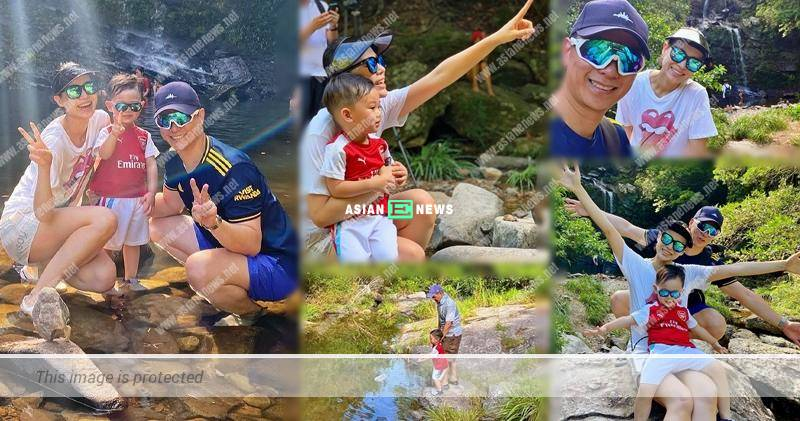 Lucky Myolie Wu and her family see a rainbow while hiking