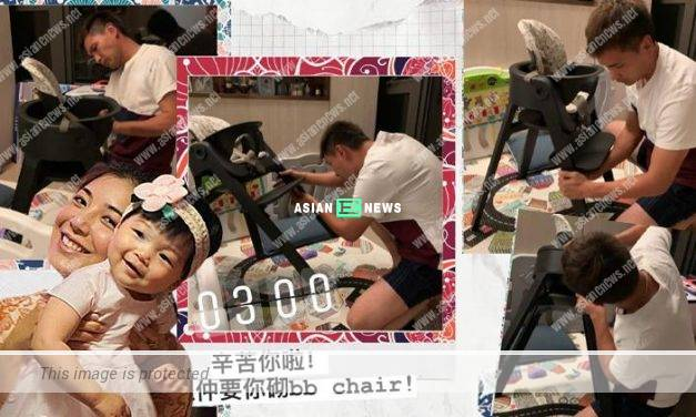 Good father Ruco Chan makes a chair for his daughter after finishing his work