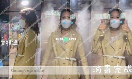 Sharon Chan goes for complete disinfection before entering into TV City