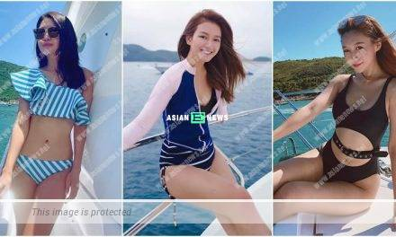 Toby Chan, Karlie Chung and Lok Yii show their swimsuit photos