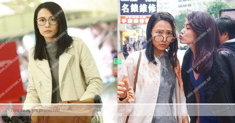 Angel Chiang gives flying kiss to Kathy Yuen after splashing with red paint