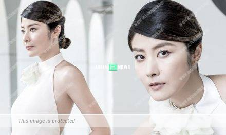 Kelly Chen shows her fair and beautiful skin when shooting an advertisement