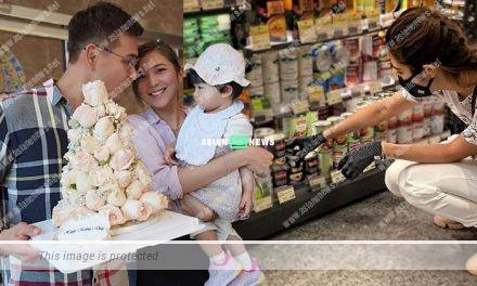 Cautious Phoebe Sin wears gloves and face mask when buying groceries