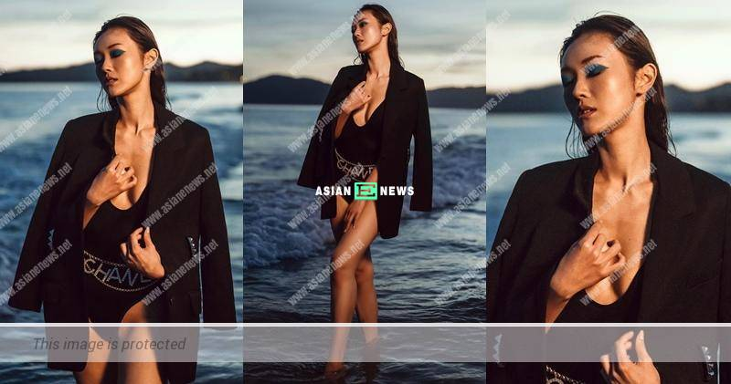 Seek permission from Benjamin Yuen? Bowie Cheung wears a sexy black swimsuit