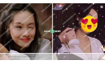 Athena Chu shows the same eye blinking expression after 25 years later