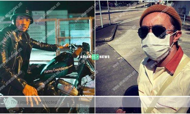 Owen Cheung laughs at Louis Cheung when his motorcycle breaks down