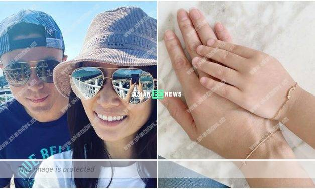 Ruby Lin and her husband show their love in the air