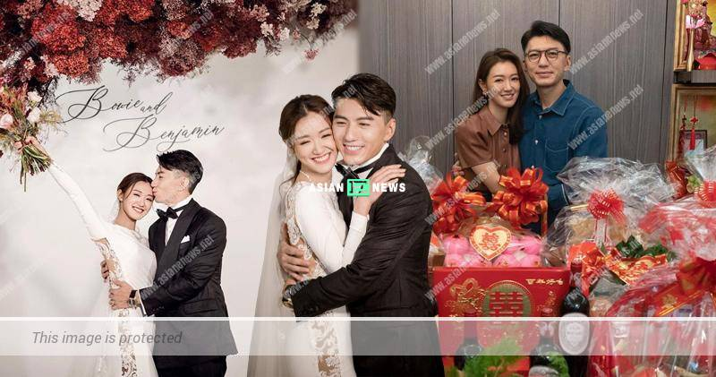 Benjamin Yuen and Bowie Cheung show their love in the air
