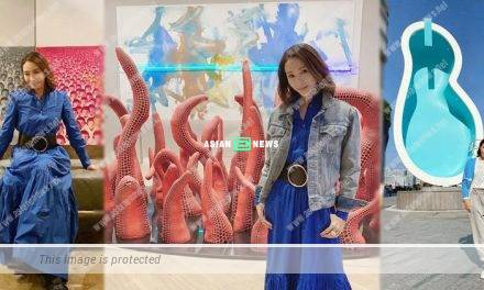 Gigi Lai visits an art exhibition in Hong Kong