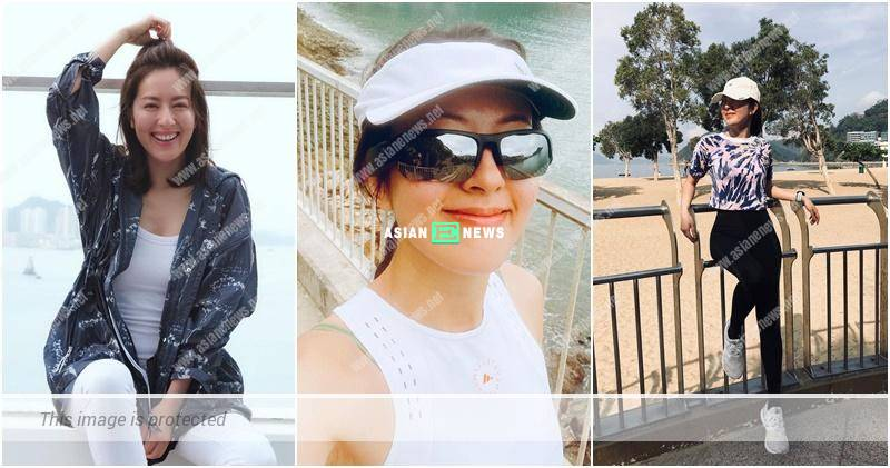 Natalie Tong wears sunglasses to listen to songs while running